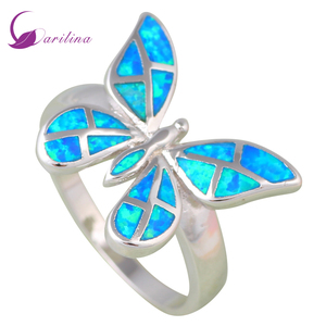 Fashion jewelry rings for women butterfly Blue Opal ring 925 Sterling Silver Party silver ring size 5 6 7 8 9 R561