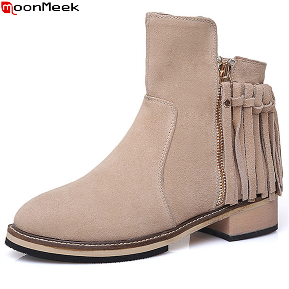MoonMeek fashion new arrive women boots round toe black apricot cow suede boots zipper fringe square heel ankle boots