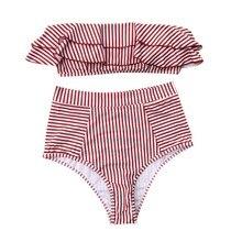 Summer Women Sexy Striped Print Ruffled Simple Openwork Halter Tube Top Split Bikinis Set Swimsuit rabbit print split top