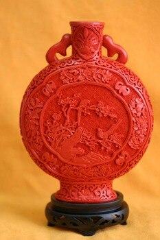 11 pollici/Squisito Cinese Classica Tecnologia Tradizionale Rosso Lacca Fiore Uccello Disegni di Buon Auspicio Vaso No. 5