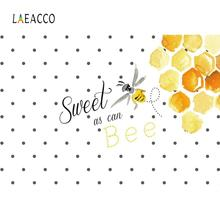Laeacco Baby Cartoon Bee Birthday Party Dots Poster Banner Photo Backdrops Photography Backgrounds Photocall Studio