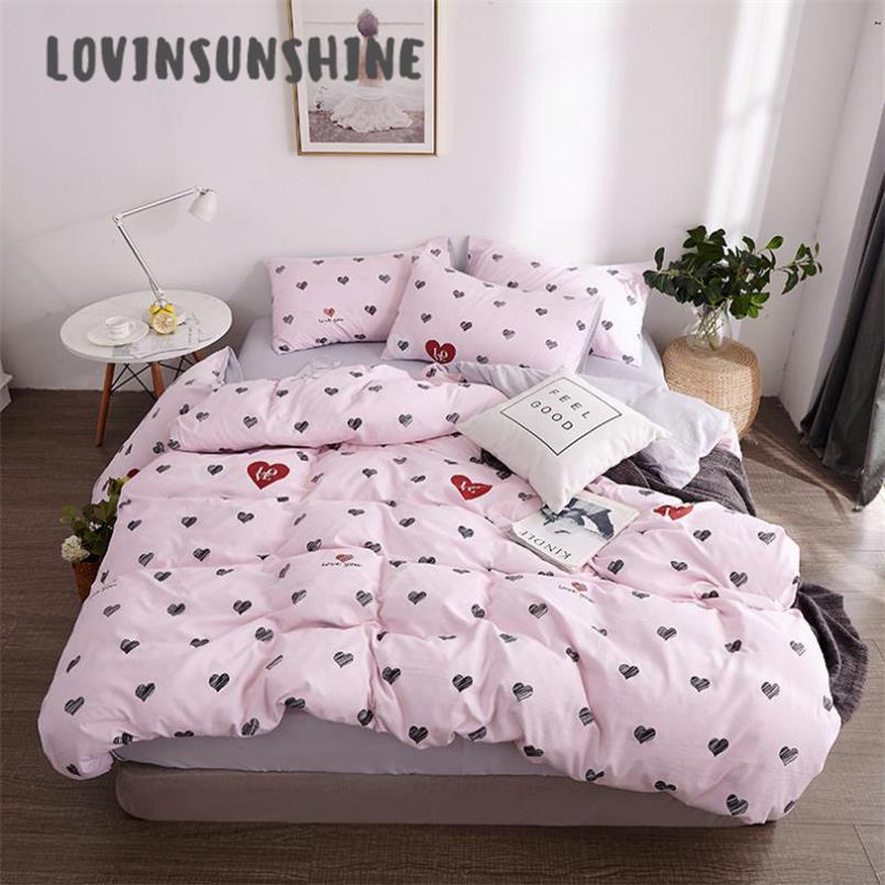 LOVINSUNSHINE Comforter-Cover Bed-Sheet-Set QUILTED Duvet Heart-Print Simple Pink AB