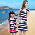 Good quality casual style family look girl and mother dress cotton triped mom and daughter dress sleep clothing Hot sale