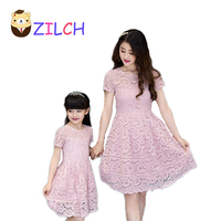 2017 New Summer Korean Motherand Daughter Dress Lace Dress Parenting Kid Lady Dress Clothing