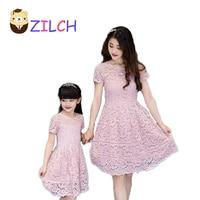 2017 New Summer Korean Motherand Daughter Dress Lace Dress Parenting Kid Lady Dress Clothing