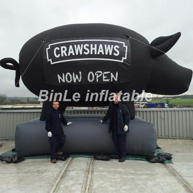 Free shipping advertising large black color inflatable pig balloons with logo for store opening commercial 2m diameter hulium balloons multicolor floating inflatable balloons with logo for event