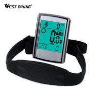 WEST BIKING Bike Computer With Cadence Heart Rate Monitor Cycling LED Bicycle Computer Wireless Odometer Speedometer