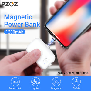 Image 1 - PZOZ Magnetische Power Bank 1200 mAh Externe Batterij Oplader Magneet mini PowerBank Li polymeer Batterij Voor iphone Micro usb type c