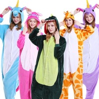 2017 Unisex Adult Winter Pajamas Unicorn Animal Pajama Sets Sexy Hooded Homewear Flannel Sleepwear Female Cute