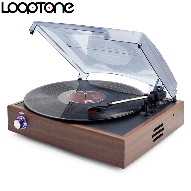 LoopTone 33/45/78 RPM Bluetooth Turntable Players For Vinyl LP Record Phono Player Built-in Speakers Line-out AC110~130&220~240V