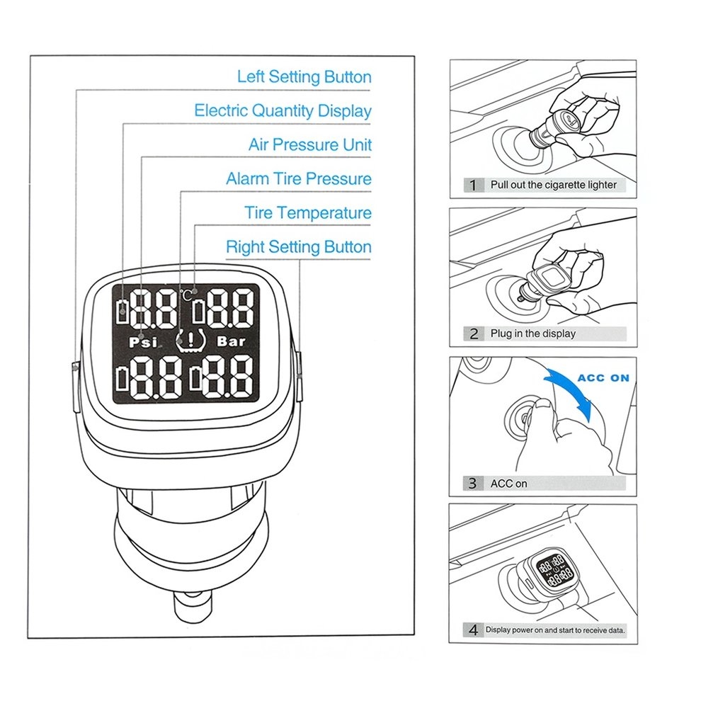 Universal TPMS Tyre Pressure Monitoring System Real-time Cigarette Lighter with 4 External Sensors LCD Digital DisplayUniversal TPMS Tyre Pressure Monitoring System Real-time Cigarette Lighter with 4 External Sensors LCD Digital Display