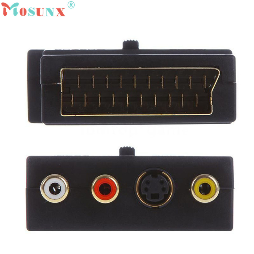 Factory Price Binmer New SCART Adaptor AV Block To 3 Phono Composite or S-Video With In/Out Switch GOLD Free Shipping Feb23