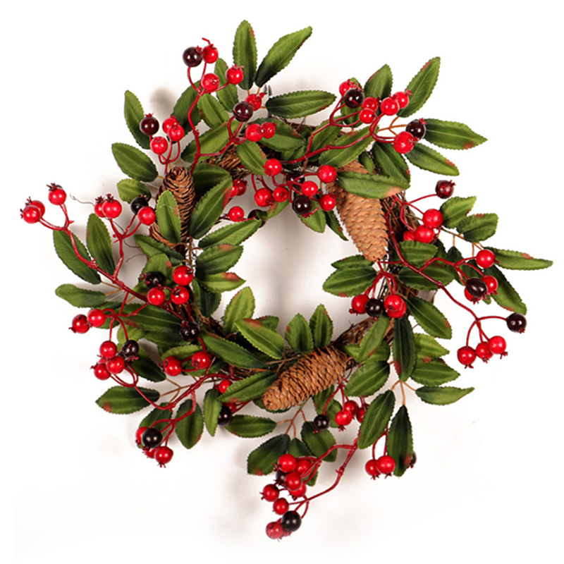 Christmas Wreath Door Decoration Artificial Foam Berry Wreath With Natural Pine Cone Pendant Wall Decor Wreath 40cm