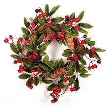 Grinalda artificial da decoração da porta da grinalda da baga da espuma do natal com a grinalda natural da decoração da parede do pendente do cone do pinho 40cm
