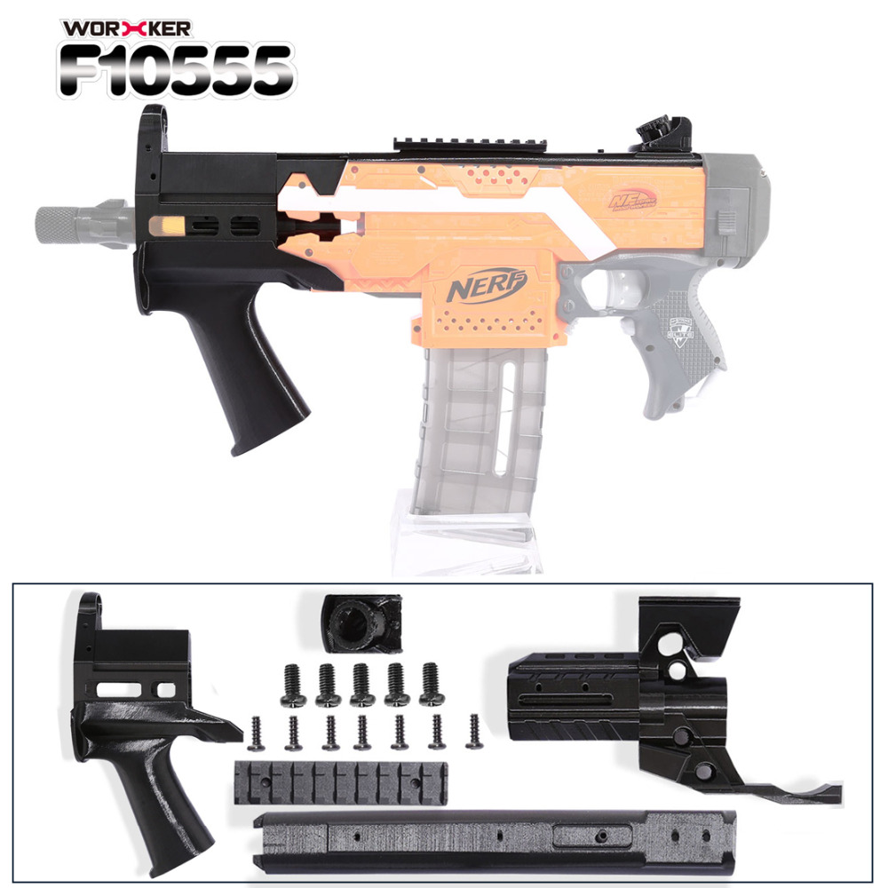 Worker f10555 3D Printing JSSAP SMG Front Tube Kit Professional Toy Accessories for Nerf Stryfe - Black worker f10555 no 152 stf type b set professional toy gun accessories for nerf stryfe black