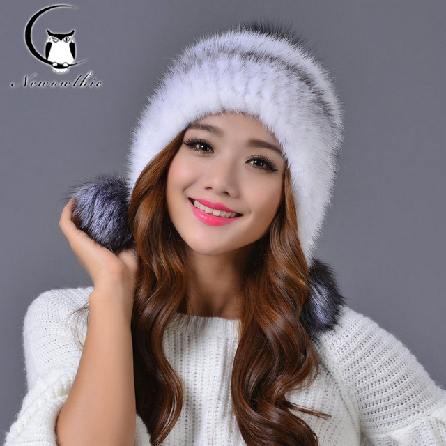 2016new Women Real mink fur hat winter fur hat Russian Women Winter Hat
