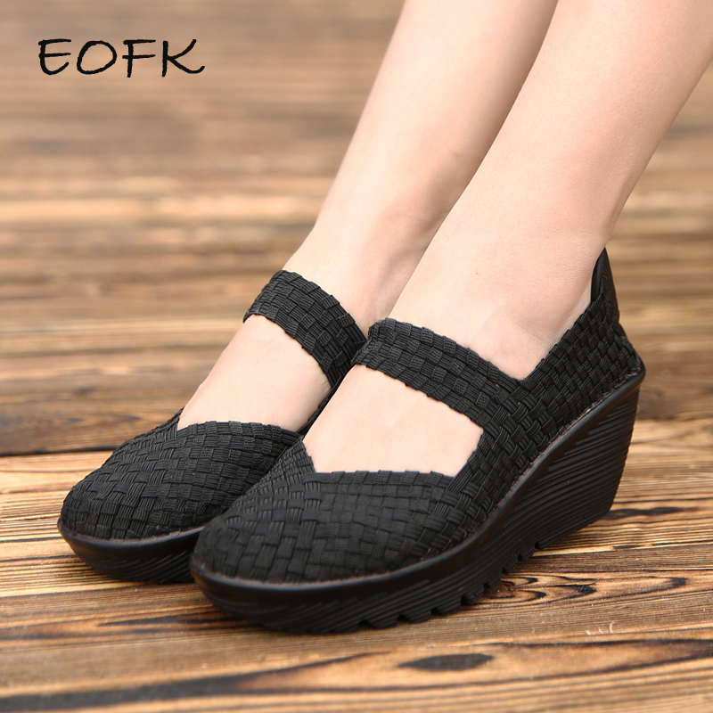 EOFK New Summer Women Platform Shoes Woven Loafers Handmade Woven Slip On Nylon Wedges Shoes Woman Large Size 42 Female Footwear