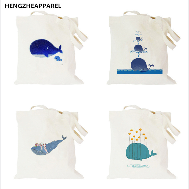 Canvas Shopping Bags Foldable Reusable Grocery Bags Polyester Shoulder Bag Fashion Design Casual Women Tote Bag tote bag