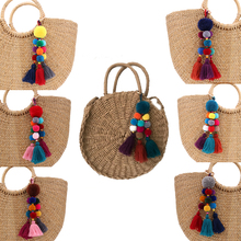 new Bag Hanging Pendant Decoration Wood Beads Key Chain 1PC Bohemian Style Woolen Yarn Venonat Tassel 6 Colors 2018 New Arrival
