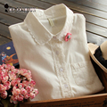 Blanco Botón de Encaje de Ganchillo Blusa Turn Down Collar Largo de Algodón de manga Superior blusas feminina Camisa con Bolsillo Tamaño SL T58324