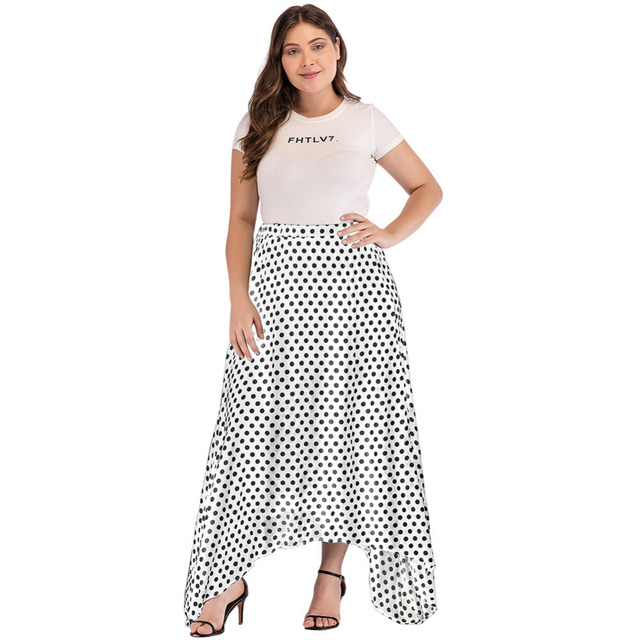 553a586c4e4 Romacci Vintage Boho Long Skirt Women Plus Size High Waist Polka Dot Maxi  Skirt Side Slit Asymmetric Hem Summer Chiffon Skirt