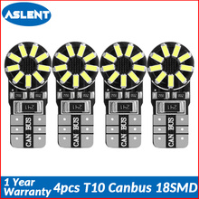 Aslent 4pcs T10 W5W 194 3014SMD Led Car Light Bulb Canbus Error Free Clearance Break Lamps Turn Signal Reading Lights wihte 12v