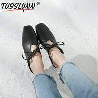 TASSLYNN 2019 Women Shoes Casual Genuine Leather Square Heel Mules Sheepskin Heels Women elegant Women Pumps Big Size 34 39