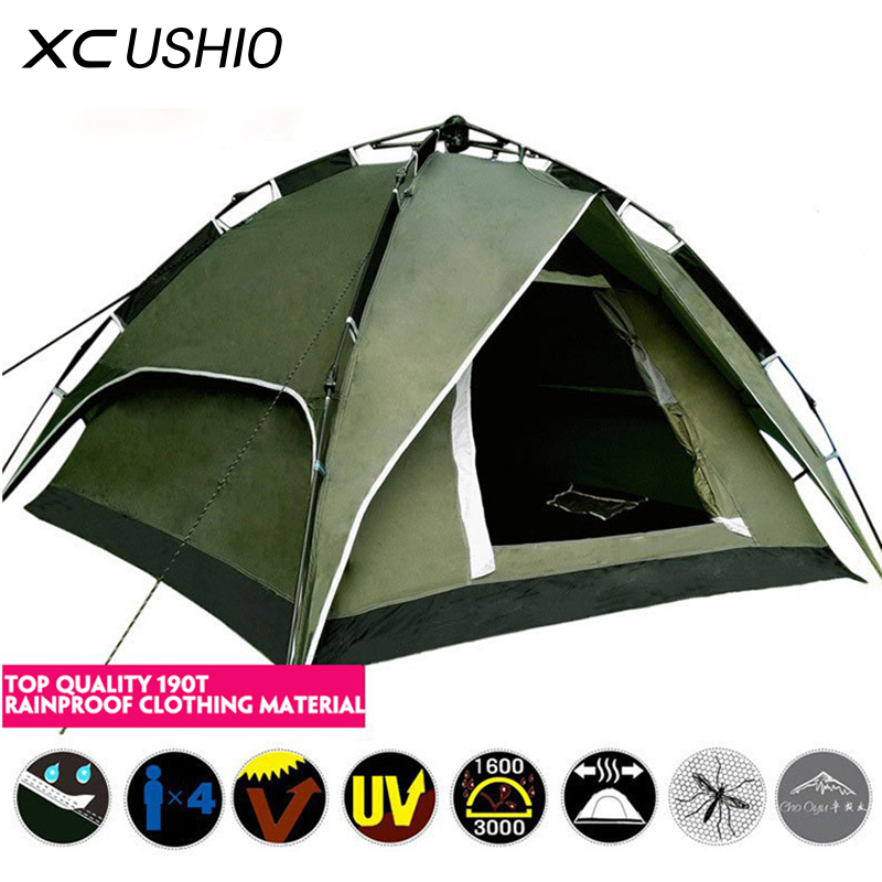 High Quality 3-4 Person Double Layer Waterproof Family Tent Quick Open Automatic Large Tents for Outdoor Camping Hunting Onsale футболка fallen verte black gold