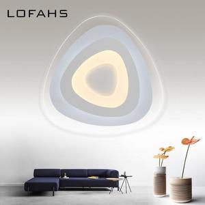 Image 3 - Dreieck thin moderne LED decke kronleuchter Kreative arc dreieck Plexiglas lampe hause flush montieren hause beleuchtung lumiere luz