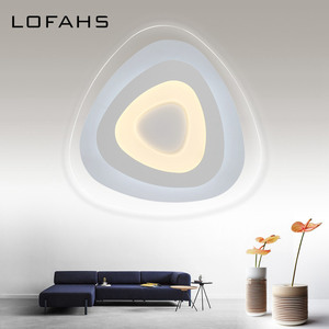 Image 3 - Triangle thin modern LED ceiling chandelier Creative arc triangle led lamp flush mount home lighting For Living Room Bedroom