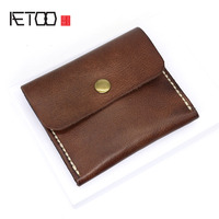 AETOO Original plant tanned leather wallet handmade stitch retro card pack male driver's license student coin package tide