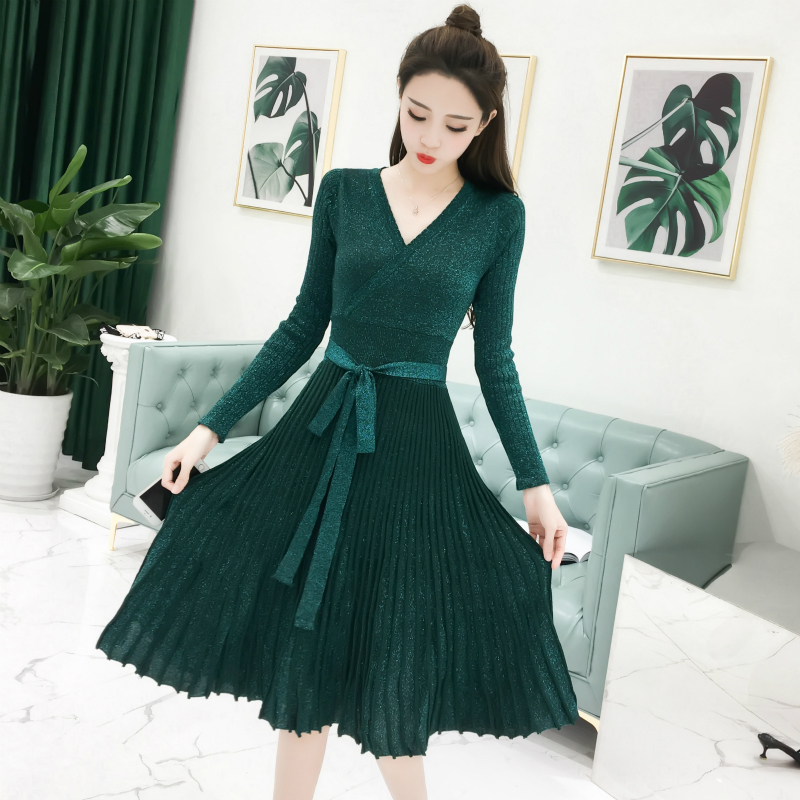 New Autumn Women dress Knitting V Neck Sexy Bright Silk Posed Pleated Waist Render Dresses Pink Black Dark Green 169