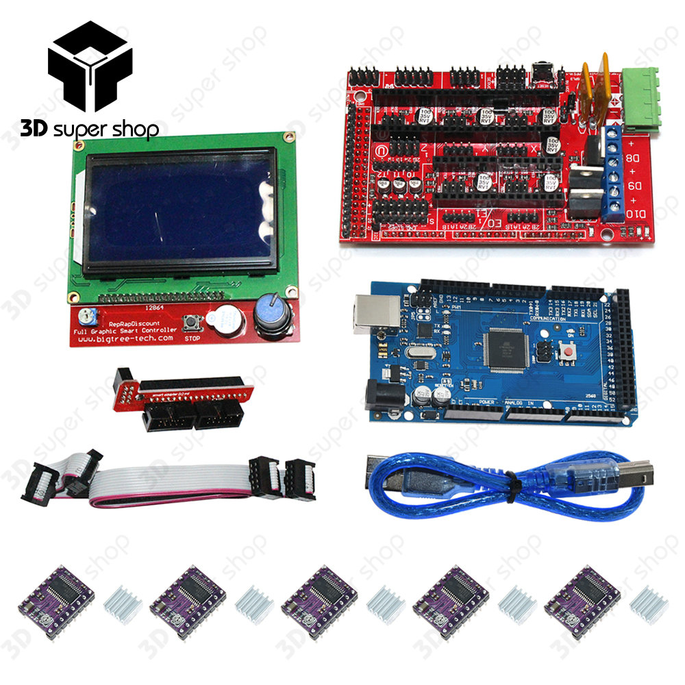 купить 3D Printer kit 1pcs Mega 2560 R3 + 1pcs RAMPS 1.4 Controller+ 5pcs DRV8825 Stepper Motor Drive + 1pcs LCD 12864 controller онлайн