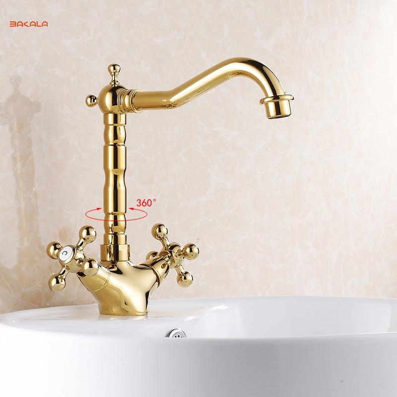 Gold Bathroom Faucet Contemporary Concise Bathroom Faucet Golden Polished Brass Basin Sink Dual Handle bath mixer Tall &Short gold bathroom faucet contemporary concise bathroom faucet golden polished brass basin sink faucet dual handle bath mixer gz7302k