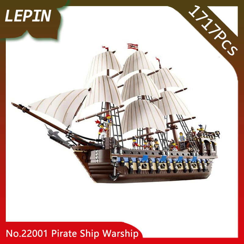 Lepin 22001 Pirate Ship Warship Model Pirates of the Caribbean 1717pcs Building Kits Block Briks Toys Gift 1717pcs Compatible new lepin 16009 1151pcs queen anne s revenge pirates of the caribbean building blocks set compatible legoed with 4195 children