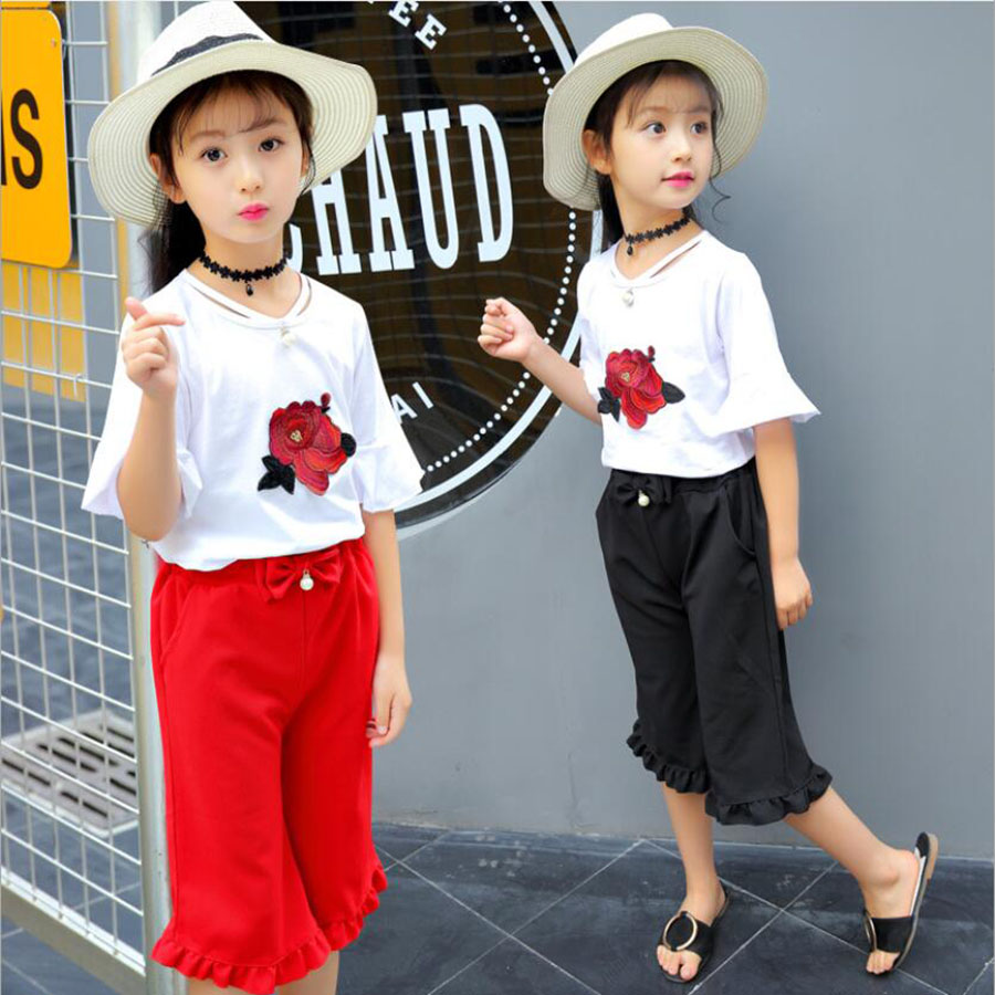 Girls clothes kids sets summer Style tops+shorts children fashion soft Tee+trousers 3-12 Y children outwear baby sweat clothes