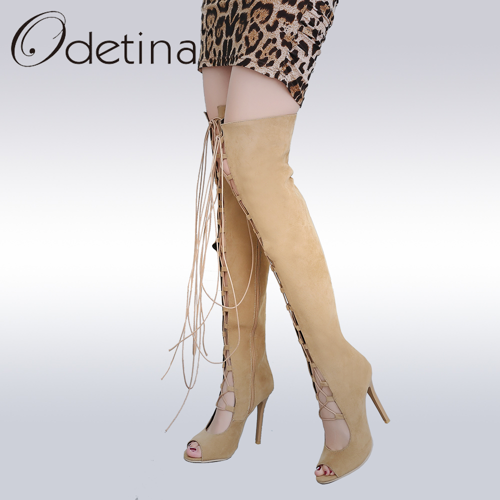 Odetina 2017 Fashion Lace Up Gladiator Sandals Women Thigh High Summer Boots Sexy Black Suede Peep Toe Supper High Heels Shoes sexy suede and lace design thigh boots for women