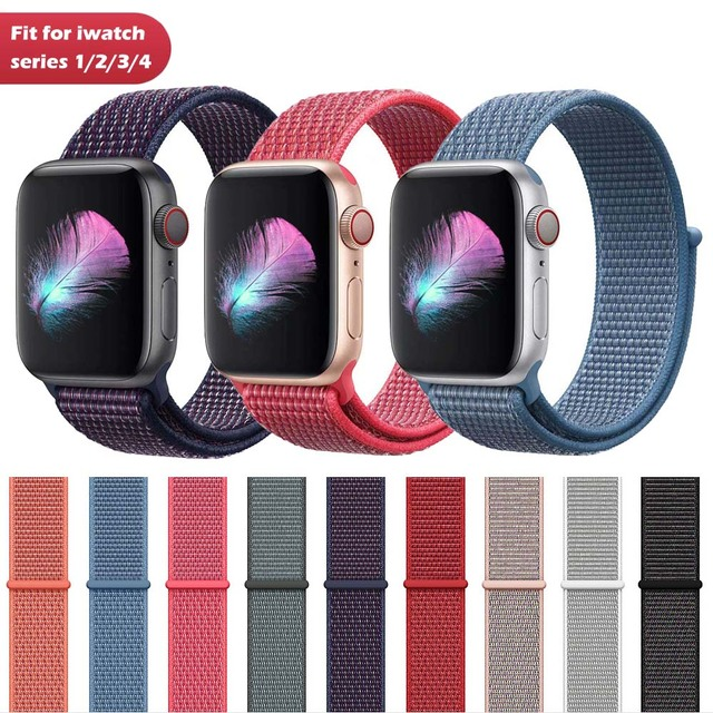 cf09fe659 For Apple Watch iWatch Band 44mm 40mm Nylon Soft Breathable Sport Loop  Adjustable Closure Wrist Strap for Apple Watch 4 3 2 1