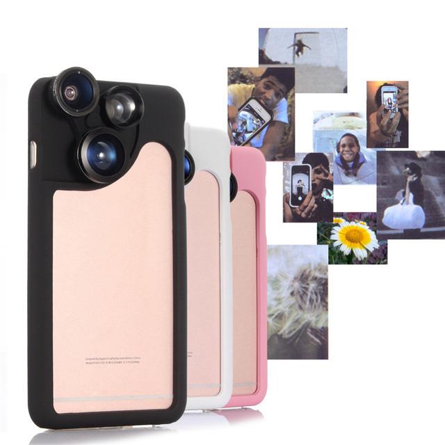 2017 Más Nuevo 4 en 1 Teléfono Lentes Gran angular Macro ojo de Pez Lentes teleobjetivo 2x para el iphone 5 5s 6 6 s plus para iphone caso