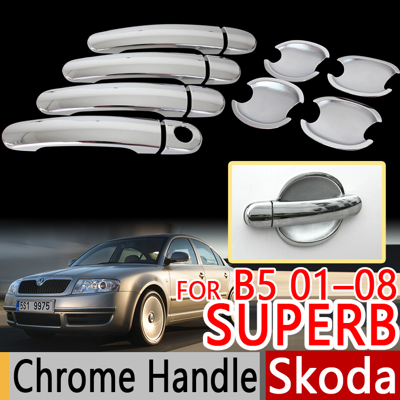 For Skoda Superb Mk1 B5 3U 2001-2008 Chrome Door Handles Covers Trim Set of 4pcs Car Accessories Stickers Car Styling 2003 2005