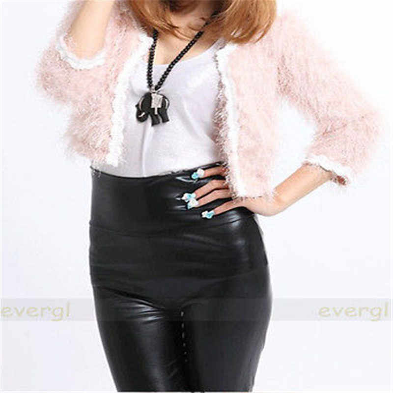 เซ็กซี่ผู้หญิงแมตต์ดูเอวสูงกางเกงยืดf auxหนังกางเกงเลกกิ้งบางยาวชั้นเดียวPUกางเกงหนังFaux