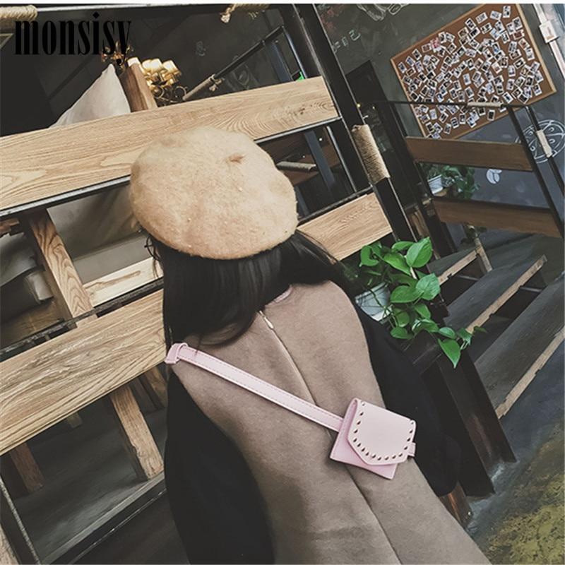 Monsisy Children Waist Fanny Bag Packs PU Läder Retro Rivet Kid Baby - Bälten väskor - Foto 3