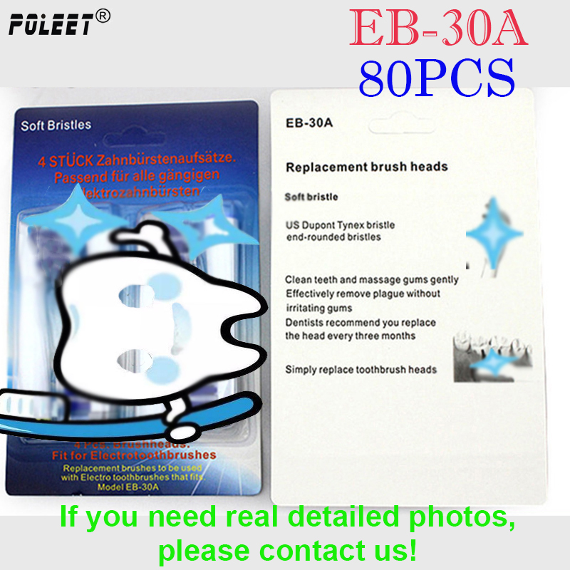 Poleet 80Pcs 20Packs Electric Toothbrush Replacement Heads EB 30A EB30A For Oral B1 Hygiene Soft bristled
