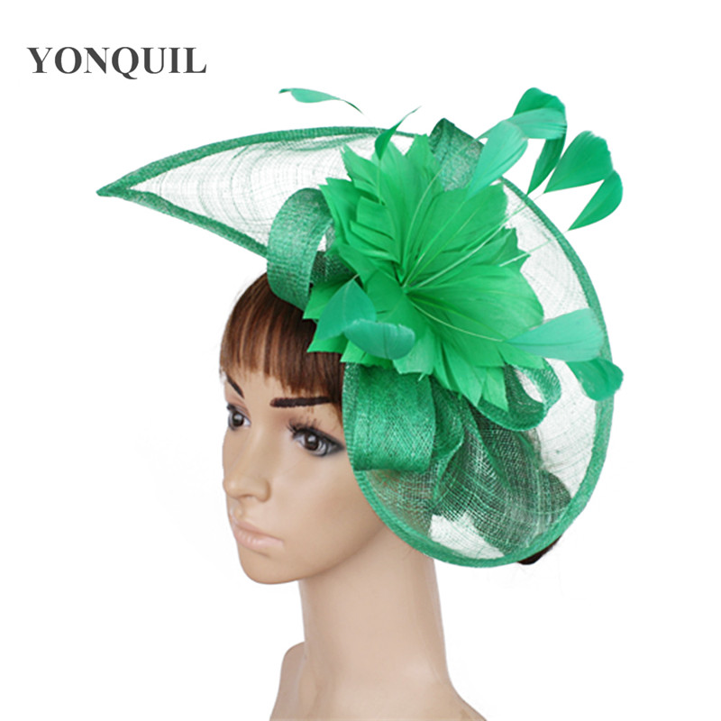 Women Green Sinamay Fascinator Hats With Beautiful Feather Flower Red Black Female Kentucky Derby Church Wedding Party Headbands