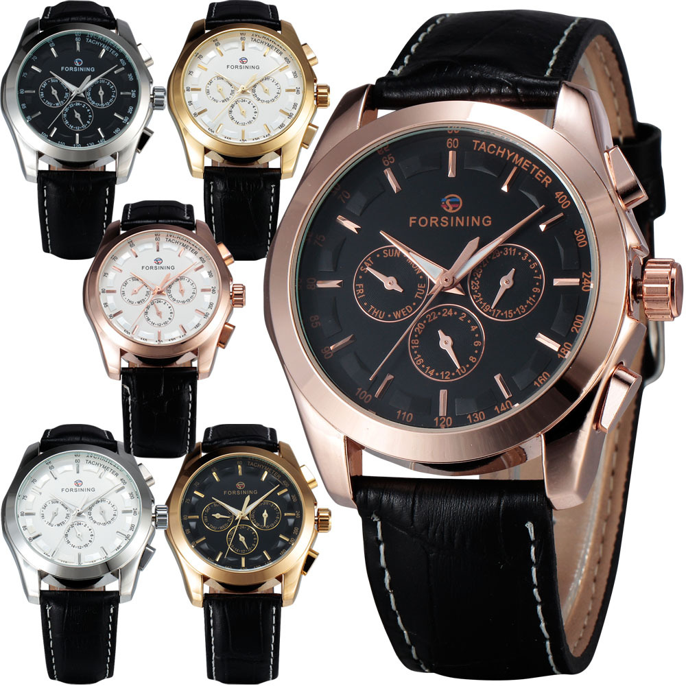 WINNER Men s Automatic Mechanical Wrist Watch Leather Strap Precision Durable Sub Dials Tachymeter W Box