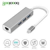 GOOJODOQ USB C HUB Gigabit Ethernet Rj45 adaptateur Lan USB type C vers USB 3.0 HUB 10/100/1000 carte réseau pour MacBook ChromeBook