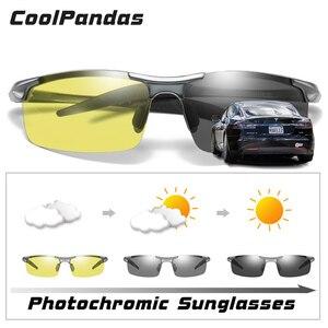 Image 2 - Top In Alluminio Magnesio Fotocromatiche Occhiali Da Sole Degli Uomini di Guida Occhiali Polarizzati Giorno del Driver di Visione notturna Occhiali gafas oculos de sol