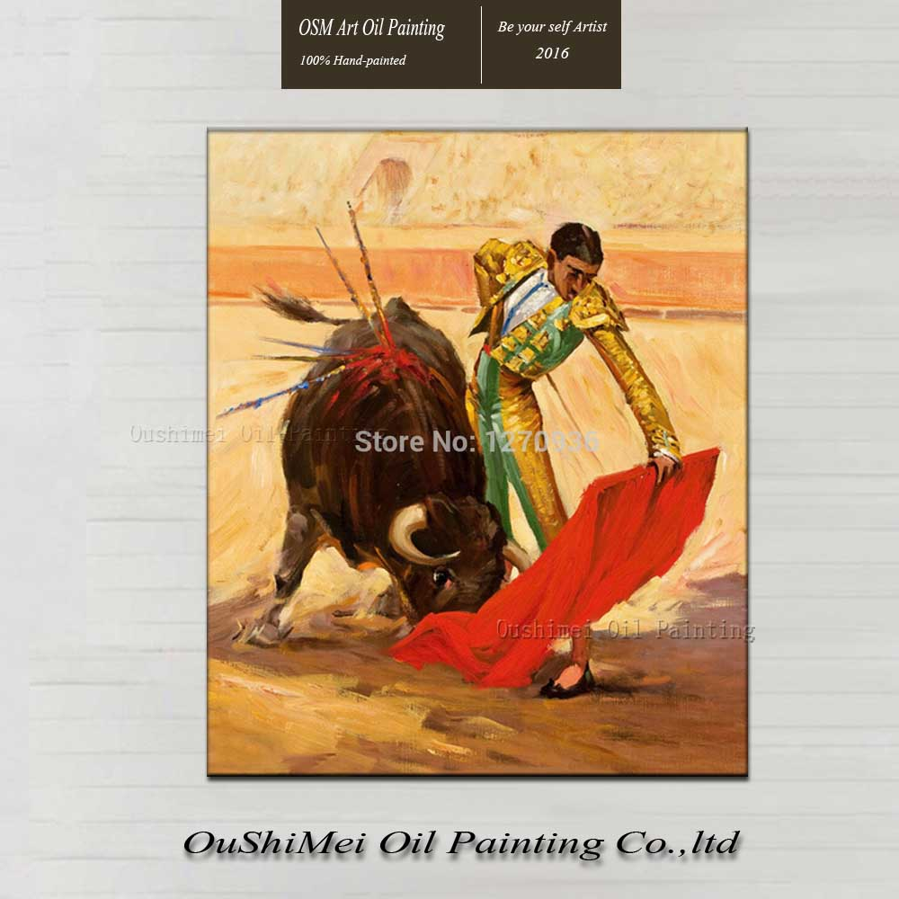 Hot Seller Low Price Best Quality A Matador is Waving a Red Cloth Bull Painting on Canvas for Club Wall Decoration