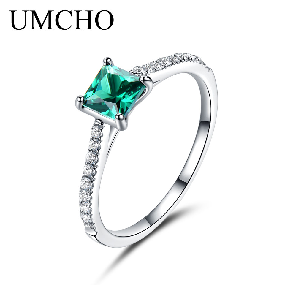 UMCHO Green Nano Emerald Ring Genuine Solid 925 Sterling Silver Fashion Vintage May Birthstone Rings For Women Fine Jewelry classic 10 75ct nano russian emerald ring emerald cut solid 925 sterling silver ring set best brand fine jewelry for women