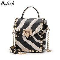 New Arrival Rivet PU Leather Women Top Handle Bags Fashion Lock Chain Shoulder Bag 2 Color